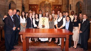 Desmond Tutu with the Mount Madonna Students