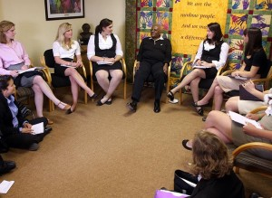 Students interviewing Archbishop Desmond