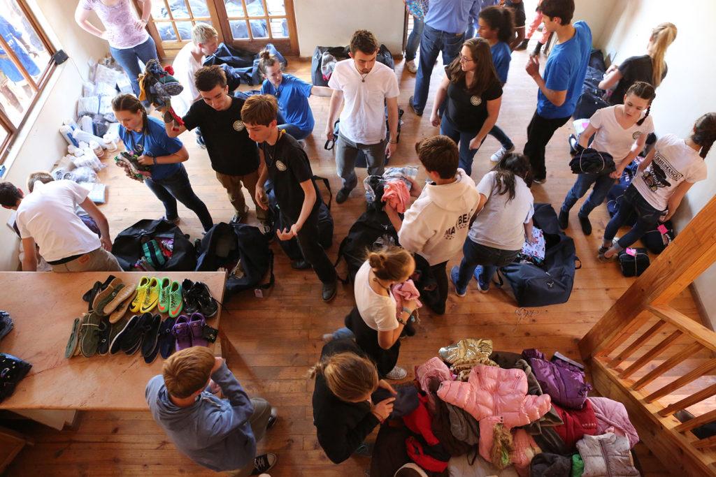 Unpacking donation bags at Botshabelo