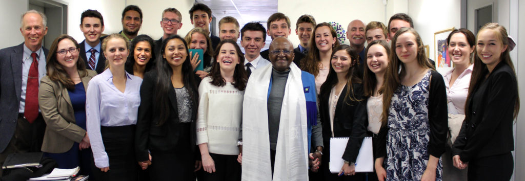 Mount Madonna students with Desmond Tutu