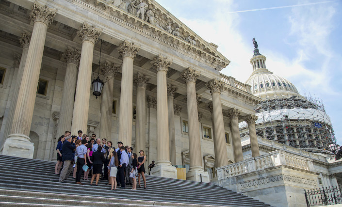 Congessman Farr talks with the students on the Capitol steps