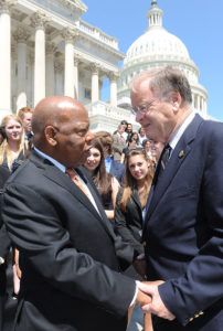Congressmen John Lewis and Sam Farr on a previous trip